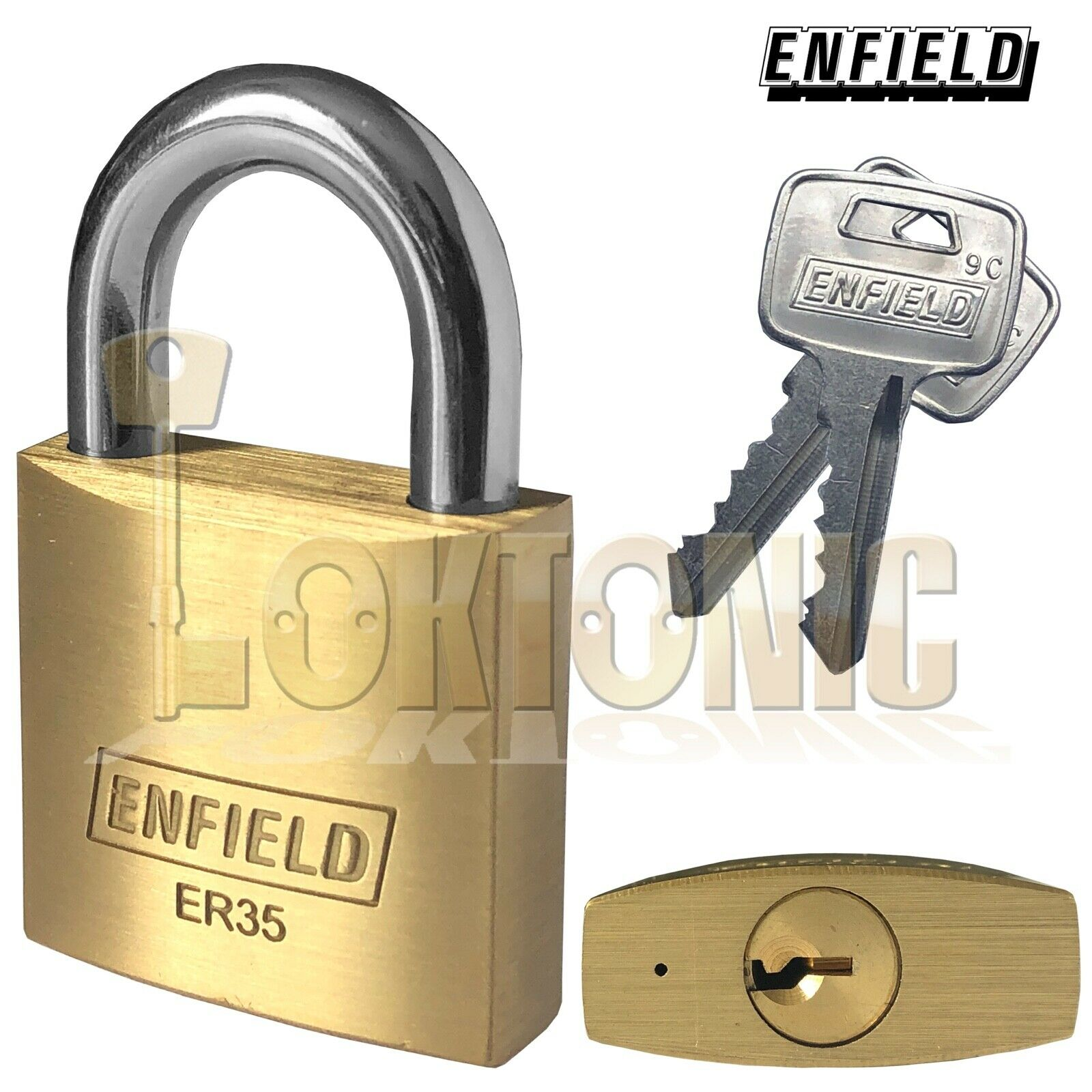 Enfield ER35 Security 35mm Solid Brass Padlock Keyed Alike Hardened Shackle