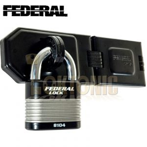 FEDERAL HEAVY SECURITY VAN SHED GATE HASP STAPLE AND PADLOCK COMBO FD1076 FD8104