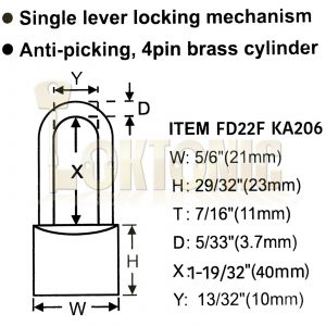 Federal 22F KA206 Brass Long Shackle Padlock Shed Gate Locker Suitcase Travel