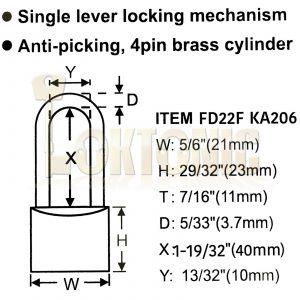 Federal 22F KA206 Brass Long Shackle Padlock Shed Gate Locker Suitcase Travel