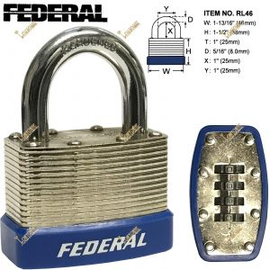Federal RL46mm Resettable Steel Laminated Combination Padlock Toolbox Cupboard