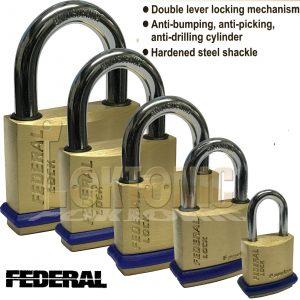 Federal Solid Security Brass Padlock Garage Shed Van Gate Locker Lock Suitcase
