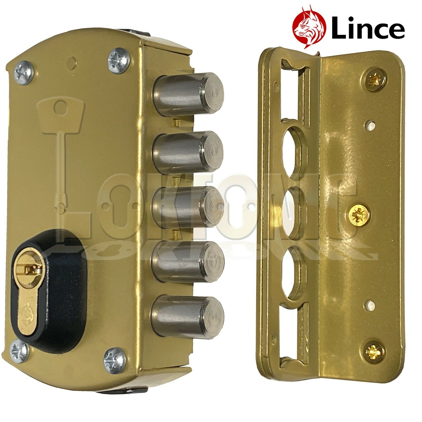 Lince 5 BOLT Rim High Security Euro Dead Bolt Lock Case 5 Secure Dimple Keys