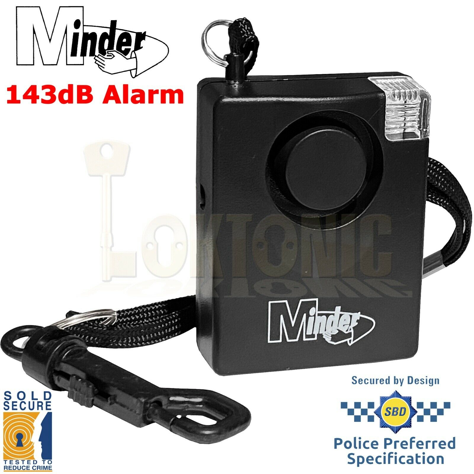 Minder Personal 143dB Sold Secure Panic Rape Attack Alarm Strobe Torch 5yr Warra