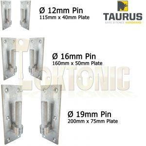 Pair Galvanised Heavy Gate Field Hook On Plate Hinge + Screws 12-16-19mm Ø Pin