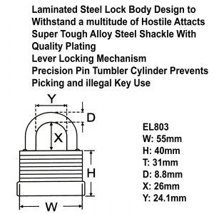 Square Link Security Hardened Steel Chain 55mm Padlock Bike Bicycle Sheds Gates