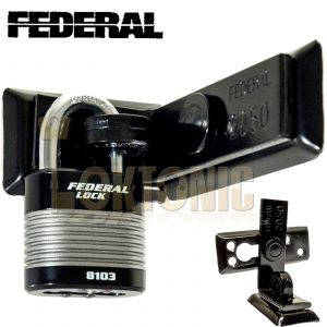 FEDERAL HIGH SECURITY VAN SHED GATE HASP STAPLE AND PADLOCK COMBO FD2050 FD8103