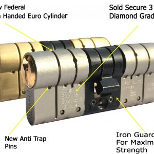 Federal BSI High Security Euro Cylinder UPVC Door 3 Lock Anti Snap 3 Star TS007