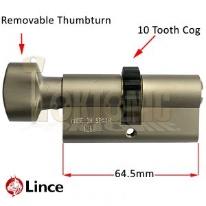 Lince High Security Euro 10 Cog Thumb Turn Cylinder 32-32mm To Suit Mul T lock