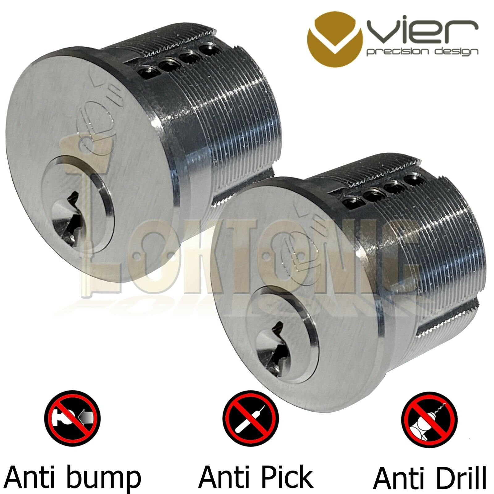 Vier Screw in Round Mortice Cylinder Lock Barrel Pair to Suit Adams Rite Lock
