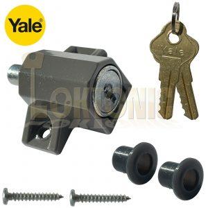 Yale P114 Sliding Patio Door Push Plunger Lock Grey (P-114-DMG)