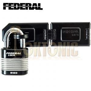 FEDERAL HIGH SECURITY VAN SHED GATE HASP STAPLE AND PADLOCK COMBO FD1075 FD8103
