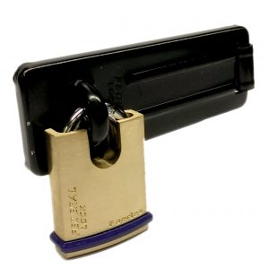FEDERAL SECURITY SHED GATE LOCK  HASP STAPLE AND PADLOCK COMBO FD1065 FD40P