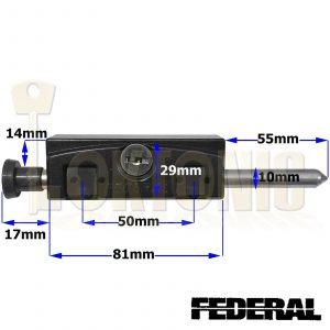 Federal Black High Security Sliding Patio Door Lock Window Locking Dead Bolt
