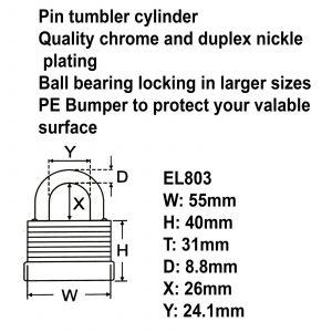 Federal High Security Weather Resistant Waterproof Shed Steel Padlock EL803