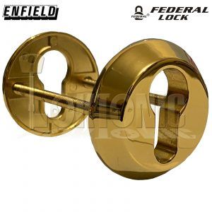 Federal Security Tough Die-Cast Steel Bolt Through Euro Escutcheons Polish Brass