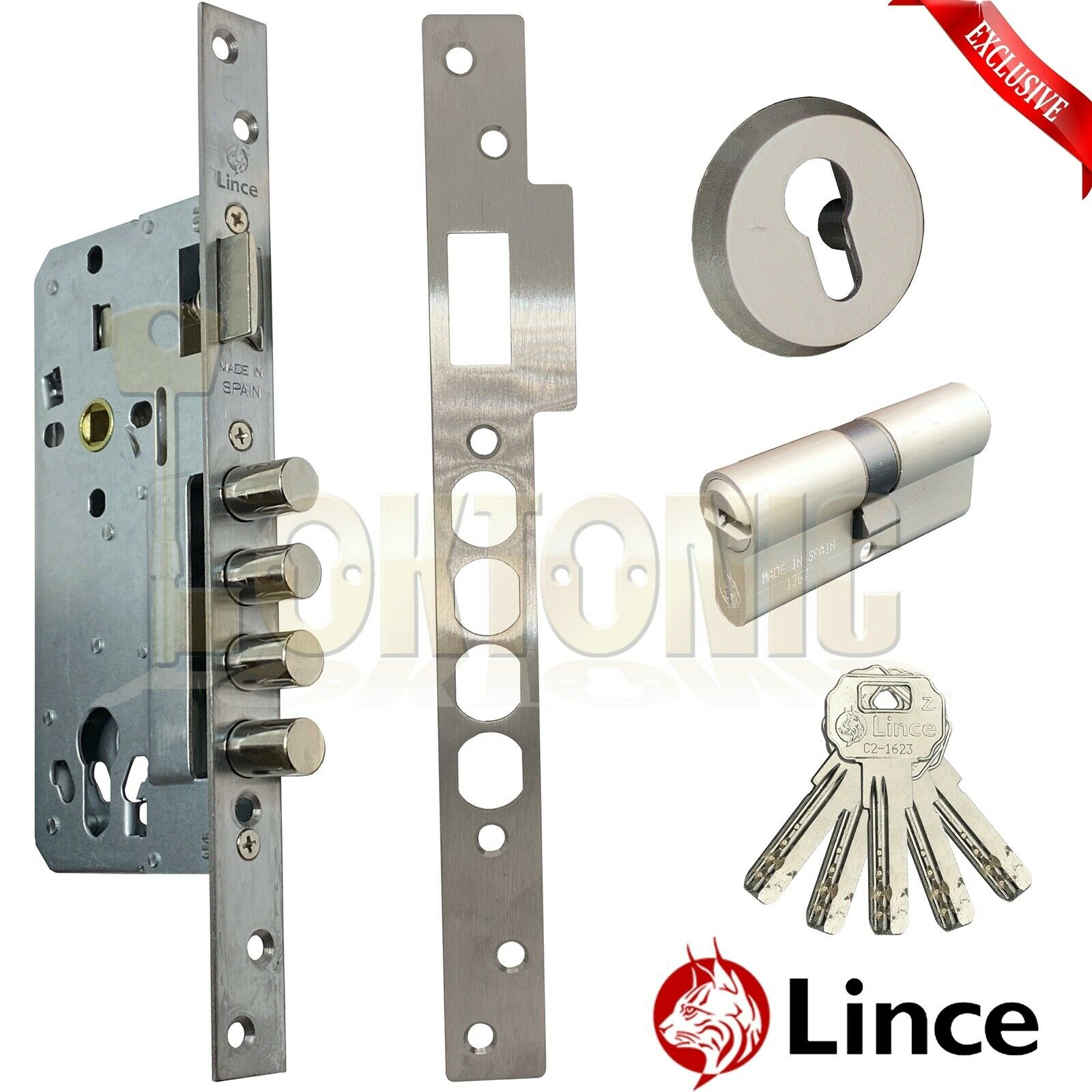 Lince 4 BOLT High Security Mortice Euro Sash Bolt Lock Case 5 Secure Dimple Keys