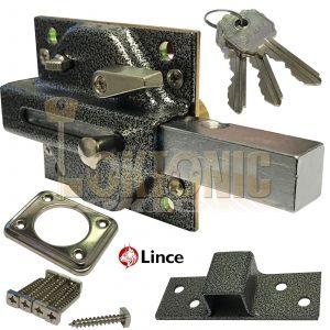 Lince Black Lock High Security Heavy Duty Garden Gate Shed Garage Sliding Bolt