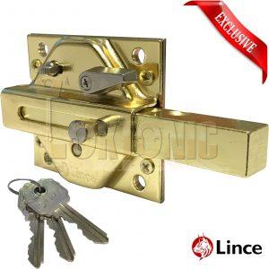 Lince Brass Lock High Security Heavy Duty Garden Gate Shed Rim Sliding Dead Bolt