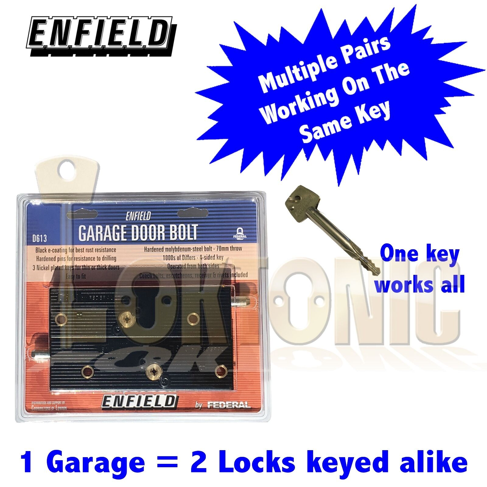 Enfield D613 Garage Door Bolts Locks Multiple Pairs All